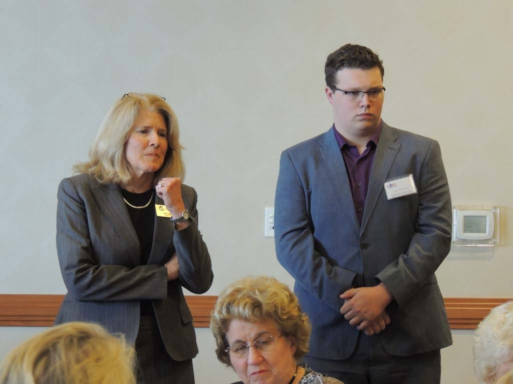 Current CUSD member Ann Tanner, left, and challenger Sage Naumann listen to questions from members of the Carlsbad Republican Women's Federated on April 22. Photo by Rachel Stine