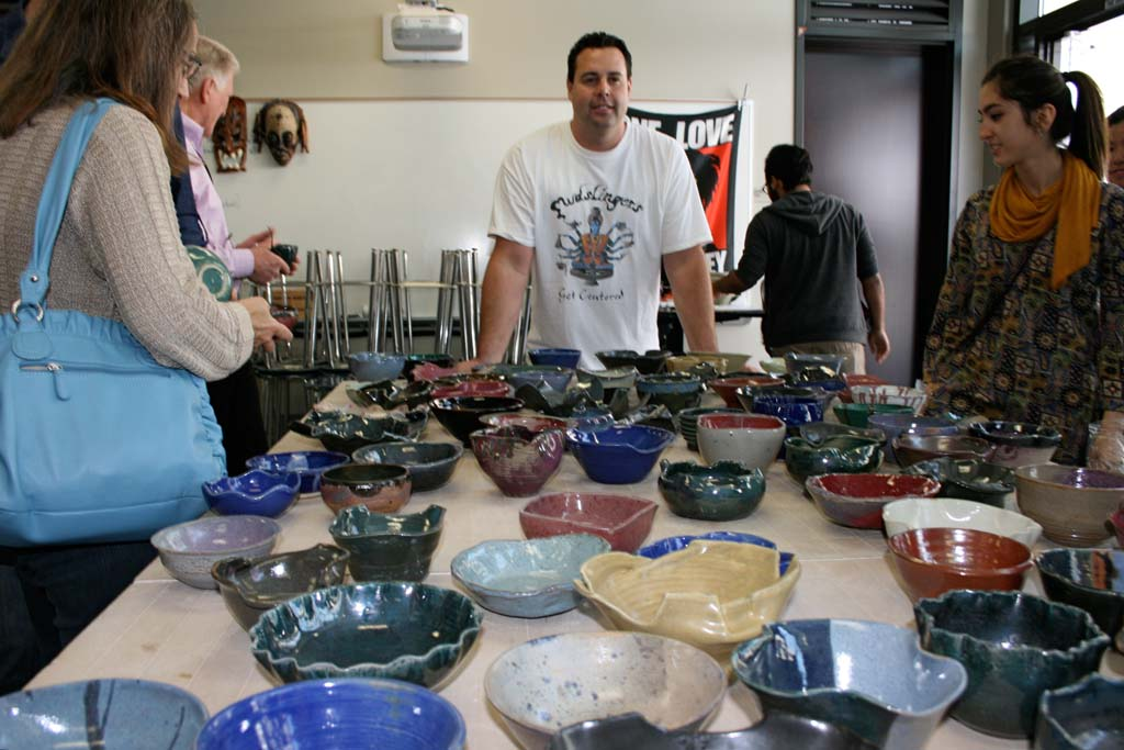 Ceramics teacher Brady Stout began the Empty Bowl fundraiser eight years ago. One in five people in North County do not know where their next meal is coming from. Photo by Promise Yee
