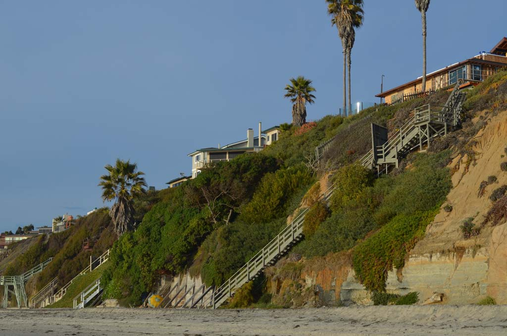 Homeowners built seawalls at Grandview Beach to combat bluff erosion. Recently, the Encinitas and Solana Beach sand project, which would shore up beaches, missed an important funding deadline. Photo by Jared Whitlock