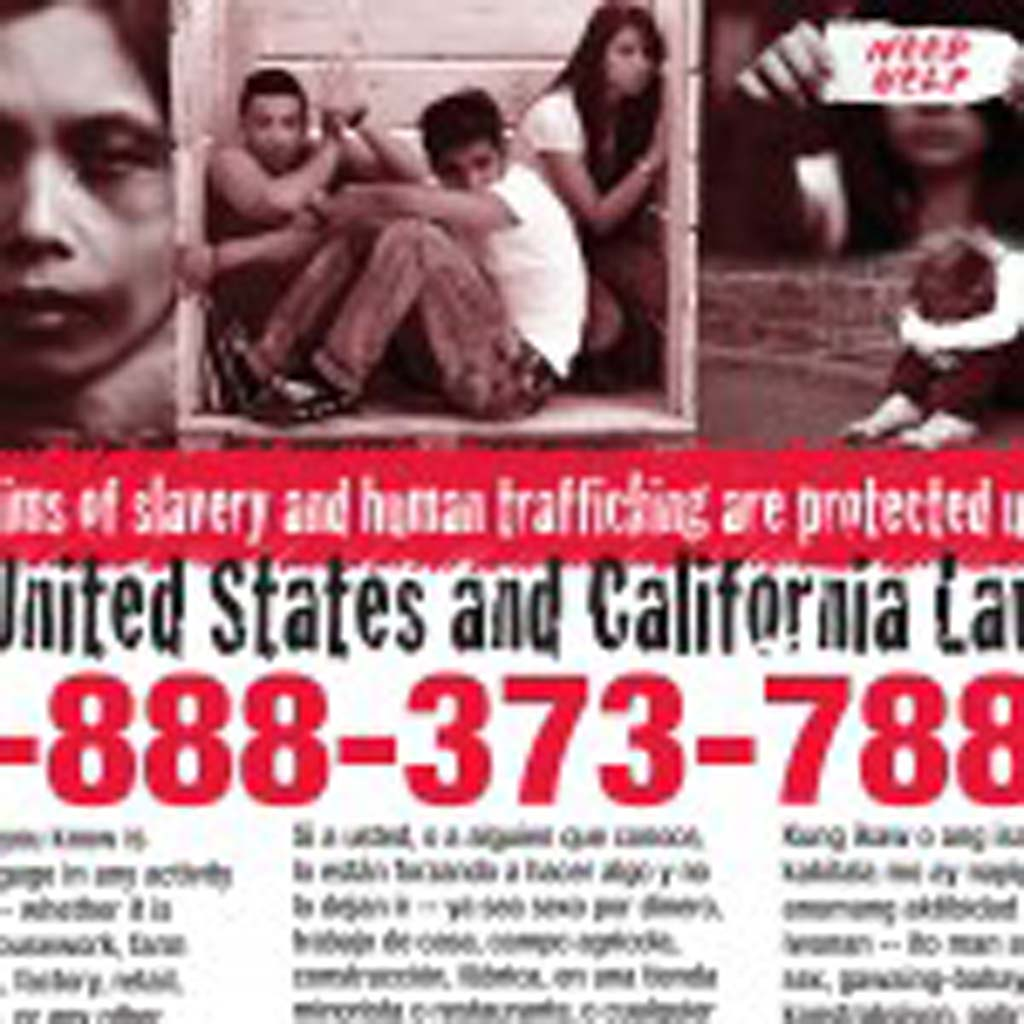 As part of San Diego County's outreach program against human trafficking, businesses including bus stations, emergency rooms, and airports are required to display this poster with information about resources for victims. Courtesy image