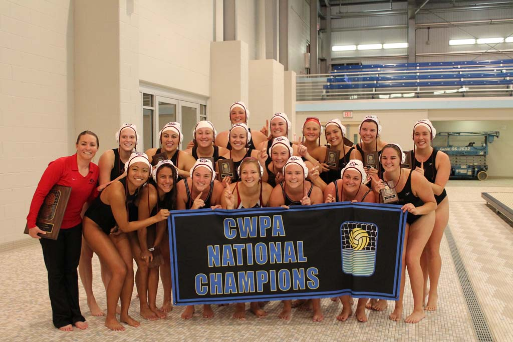 The No. 2 seeded San Diego State University women's water polo club team, coached by Solana Beach resident Jamie Cassidy, left, topped the University of Michigan May 4 to become the school's first National Collegiate Club Champions. Courtesy photo