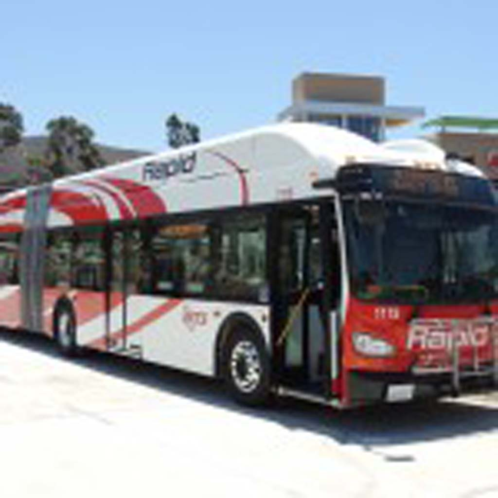 The new Rapid buses run on natural gas and are lower to the ground for improved access for handicapped passengers. Photo by Rachel Stine