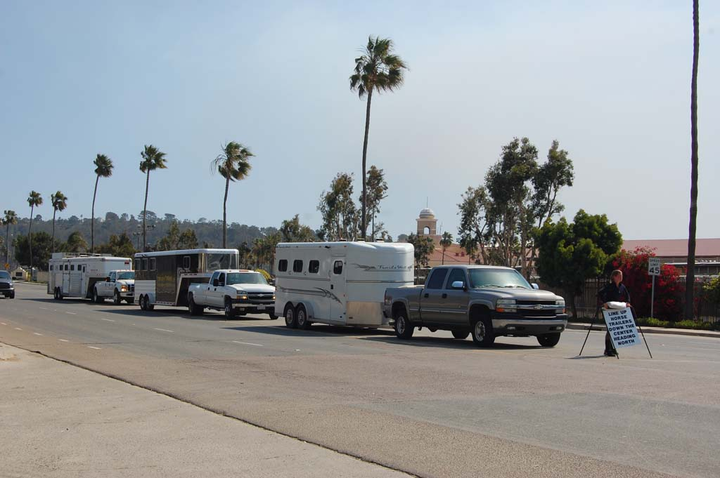Not long after the Bernardo fire broke out May 13, horse trailers lined up on Jimmy Durante Boulevard as the Del Mar Fairgrounds took in evacuated animals. Photo by Bianca Kaplanek