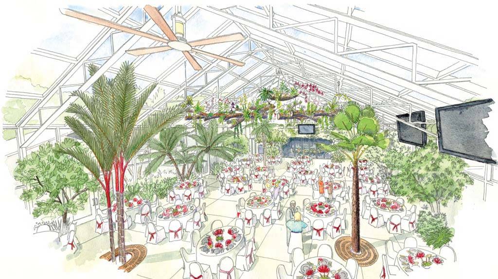Officials with the San Diego Botanic Garden have major plans on the horizon, the first being a state-of-the art indoor pavilion. Rendering courtesy San Diego Botanic Garden