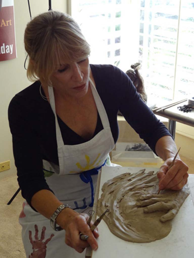 Maidy Morhous at work in her Del Mar sculpting studio Courtesy photo