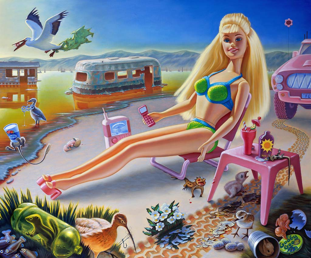 """Jen Trute's """"Sunbathe Barbie at Bombay Beach"""" depicts the iconic doll sunbathing in a desert of decay and devastation, unconscious of the endangered plants and animals that surround her. As part of the California Dreaming Exhibition, the original painting will be on display in Italy for the month of October 2014. (Photo courtesy of the Batt Family Trust)"""