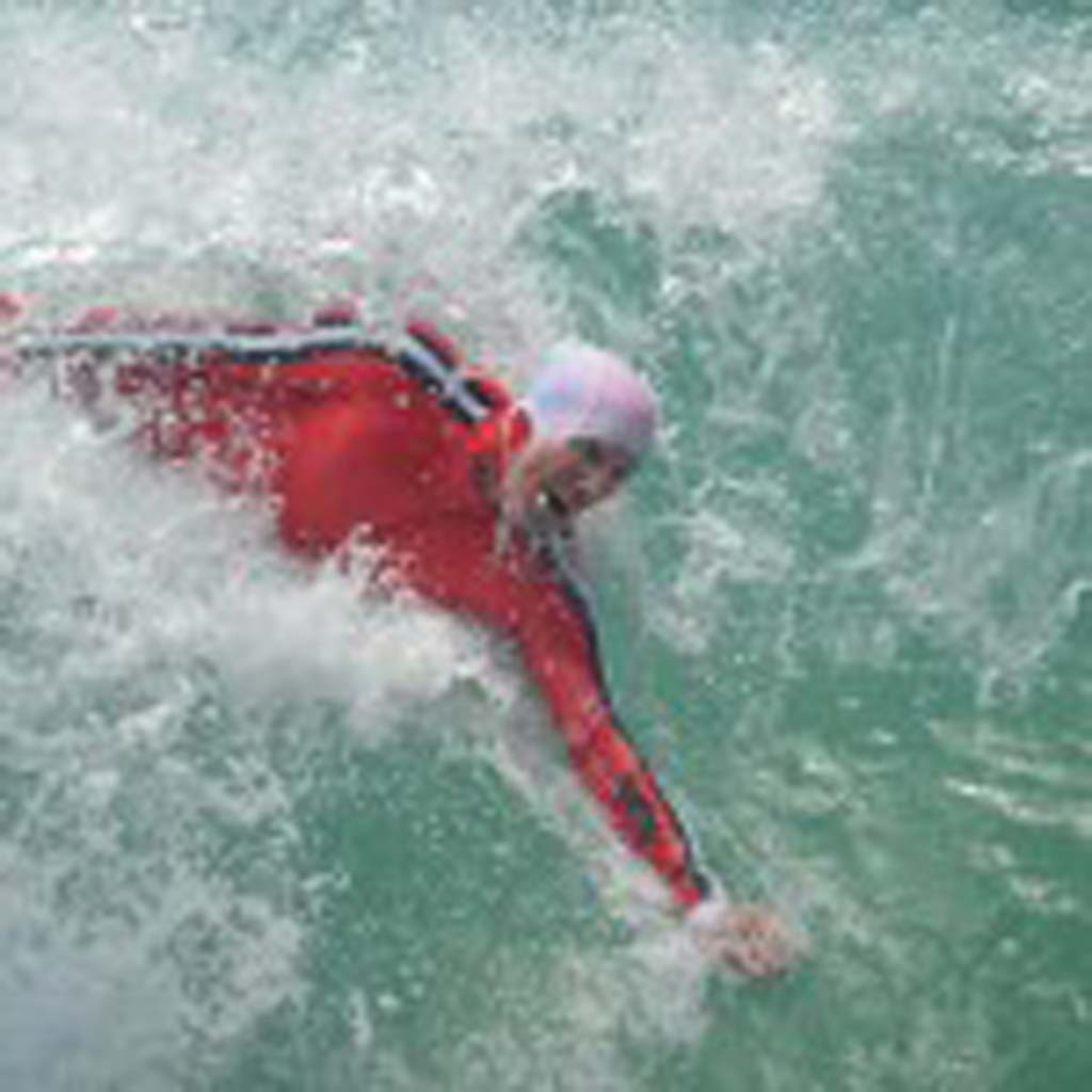 Chris Lafferty rides a wave during the finals. Photo by Tony Cagala