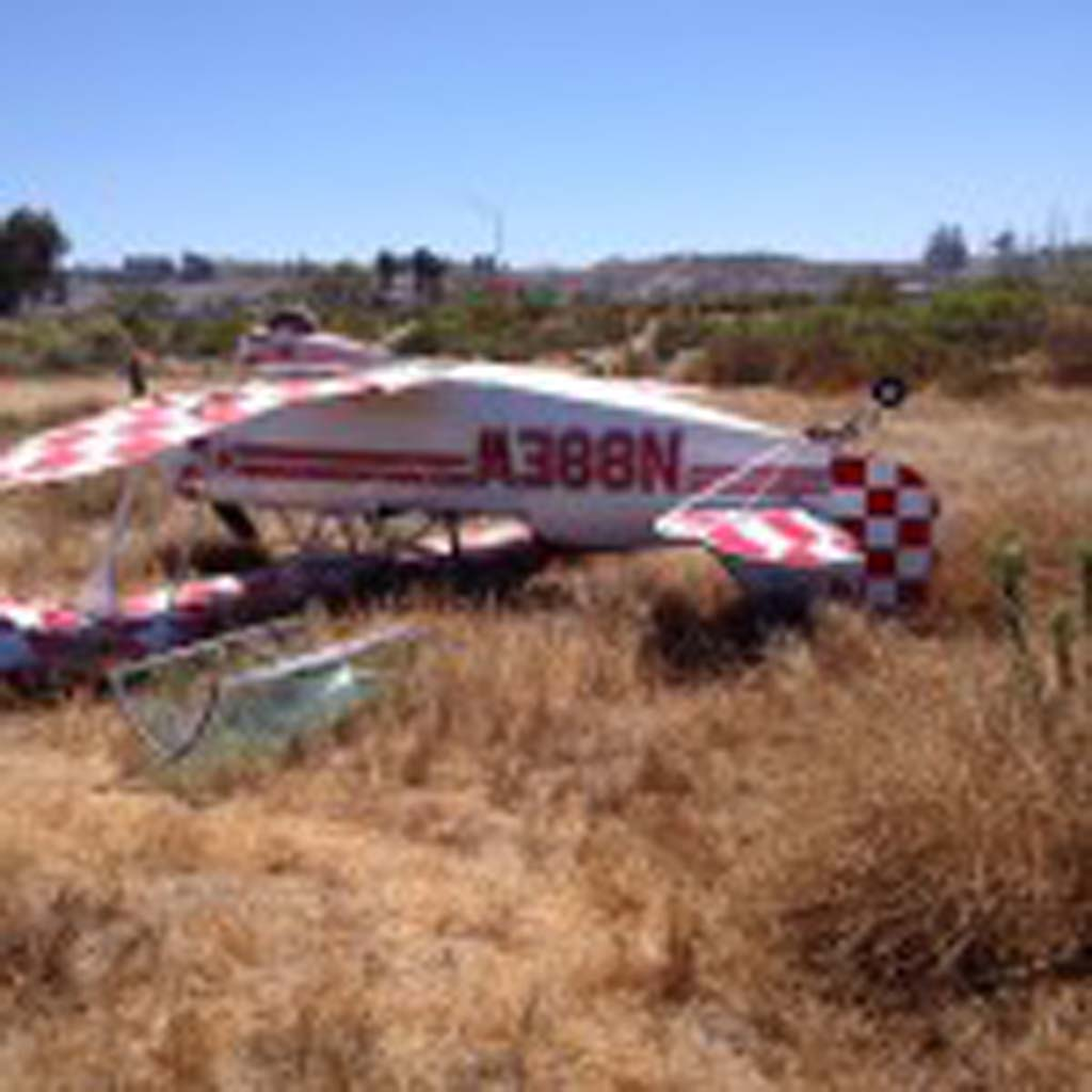 A small plane crashes near Oceanside Municipal Airport on Aug. 5. The pilot and passenger were able to walk away with minor abrasions. Photo courtesy Oceanside Police Department