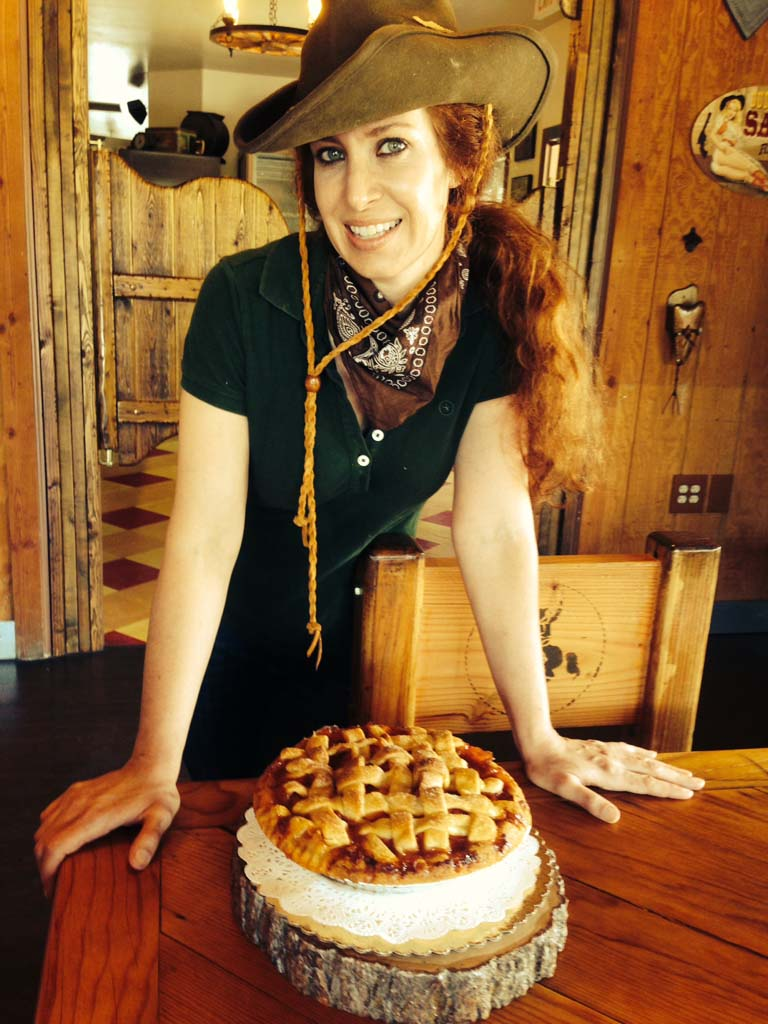 Betty Hunt with one of her decadent pies. Photo by David Boylan