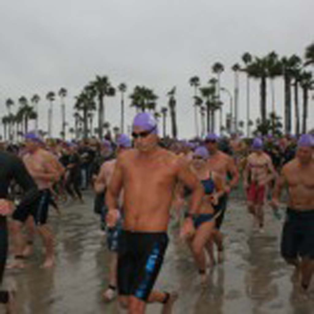 Swimmers face the elements in the open water swim. No wetsuits or fins are allowed. File photo by Promise Yee
