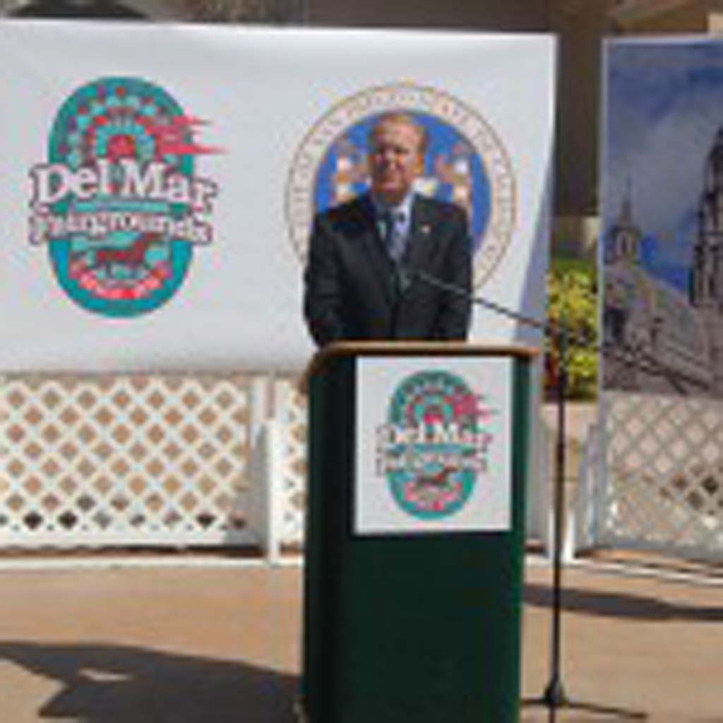 San Diego Mayor Kevin Faulconer comments during a Sept. 24 press conference to announce the theme of the 2015 San Diego County Fair. Looking on are Del Mar Fairgrounds General Manager Tim Fennell, left, and 22nd District Agricultural Association President Fred Schenk. Photo by Bianca Kaplanek