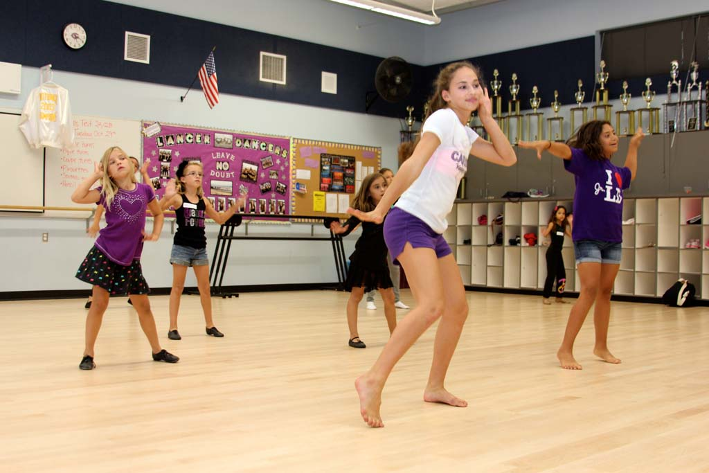 Lancer Dancer Piper Cervantes instructs a group during a Junior Lancer Dancers after-school dance class at Carlsbad High School. Photo courtesy of CHS Dance Boosters.