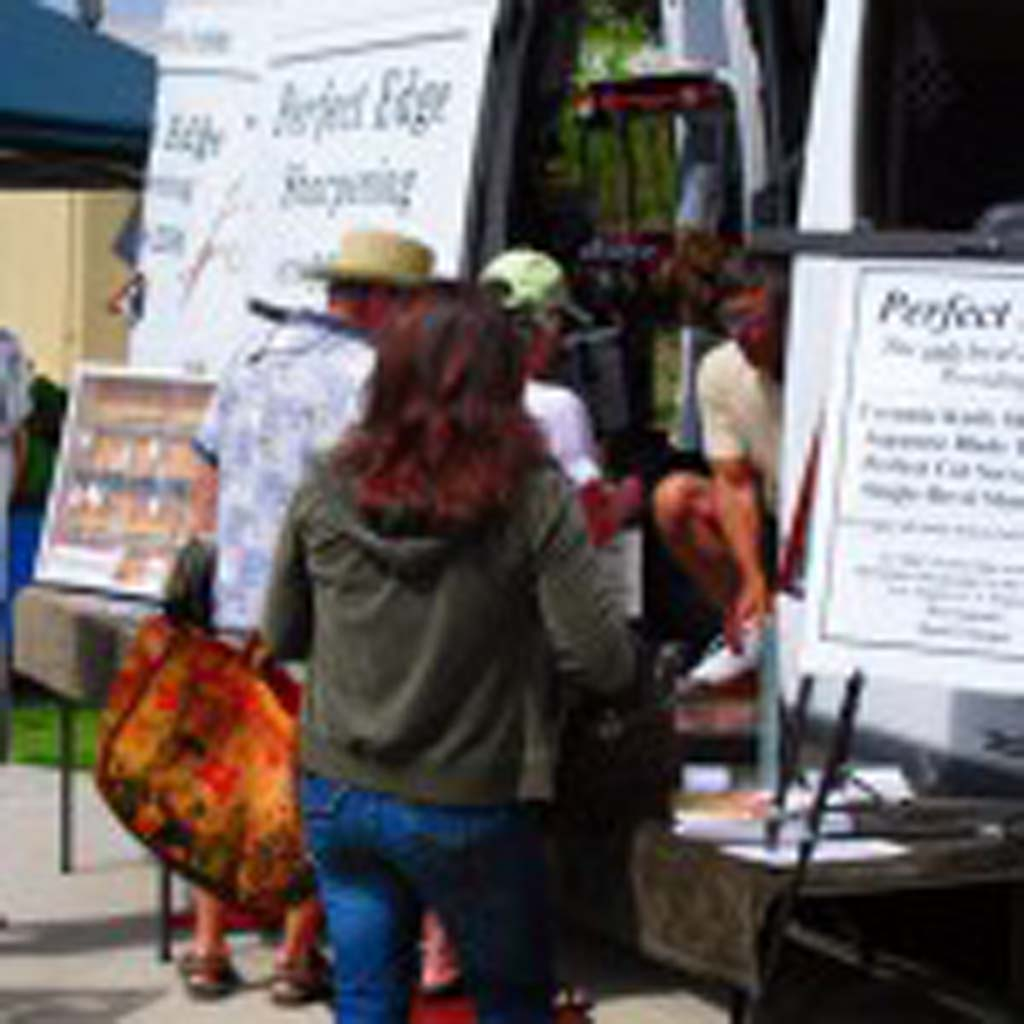 Bring your knives to the Perfect Edge mobile sharpening truck at the Leucadia Farmers Market  Photo courtesy Perfect Edge