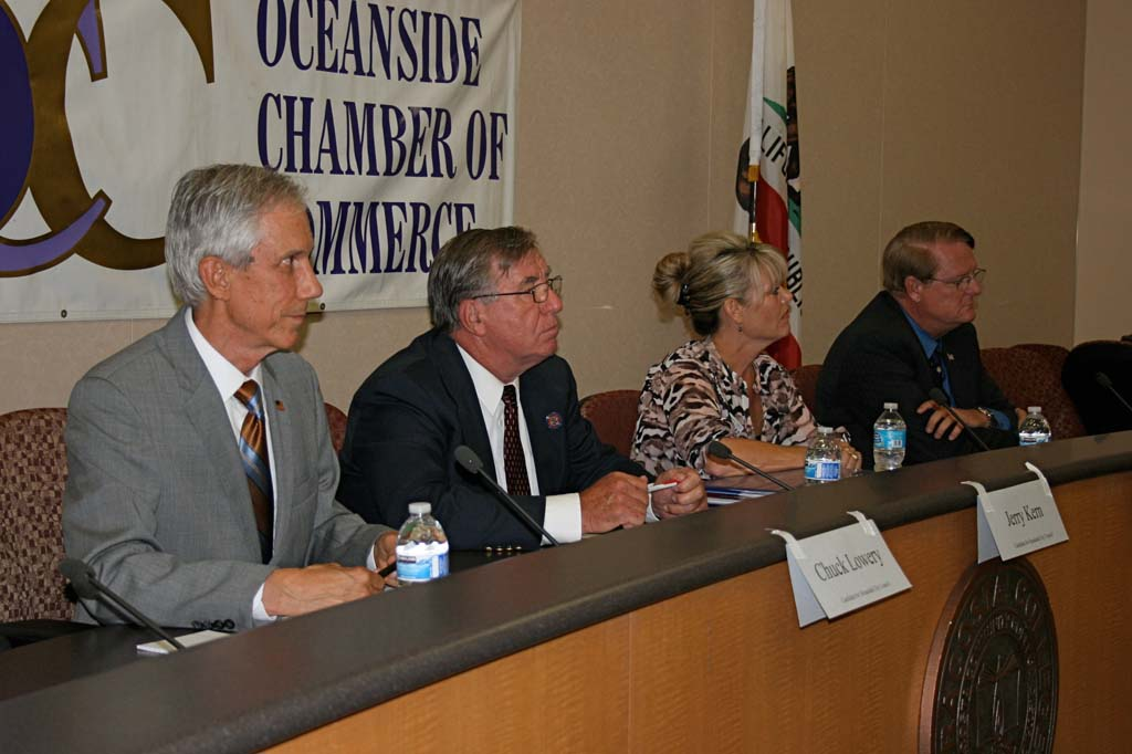 """Oceanside City Council candidates Chuck Lowery, Jerome """"Jerry"""" Kern, Dana Corso and Gary Felien await questions. The candidate's forum was held at MiraCosta College on Sept. 11. Photo by Promise Yee"""