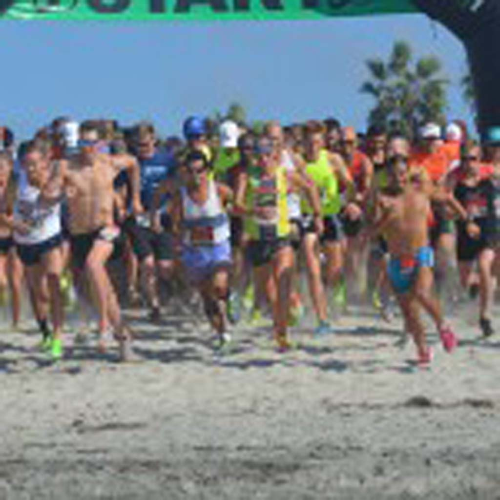 Racers blast off from the start line on Saturday. Photo by Tony Cagala