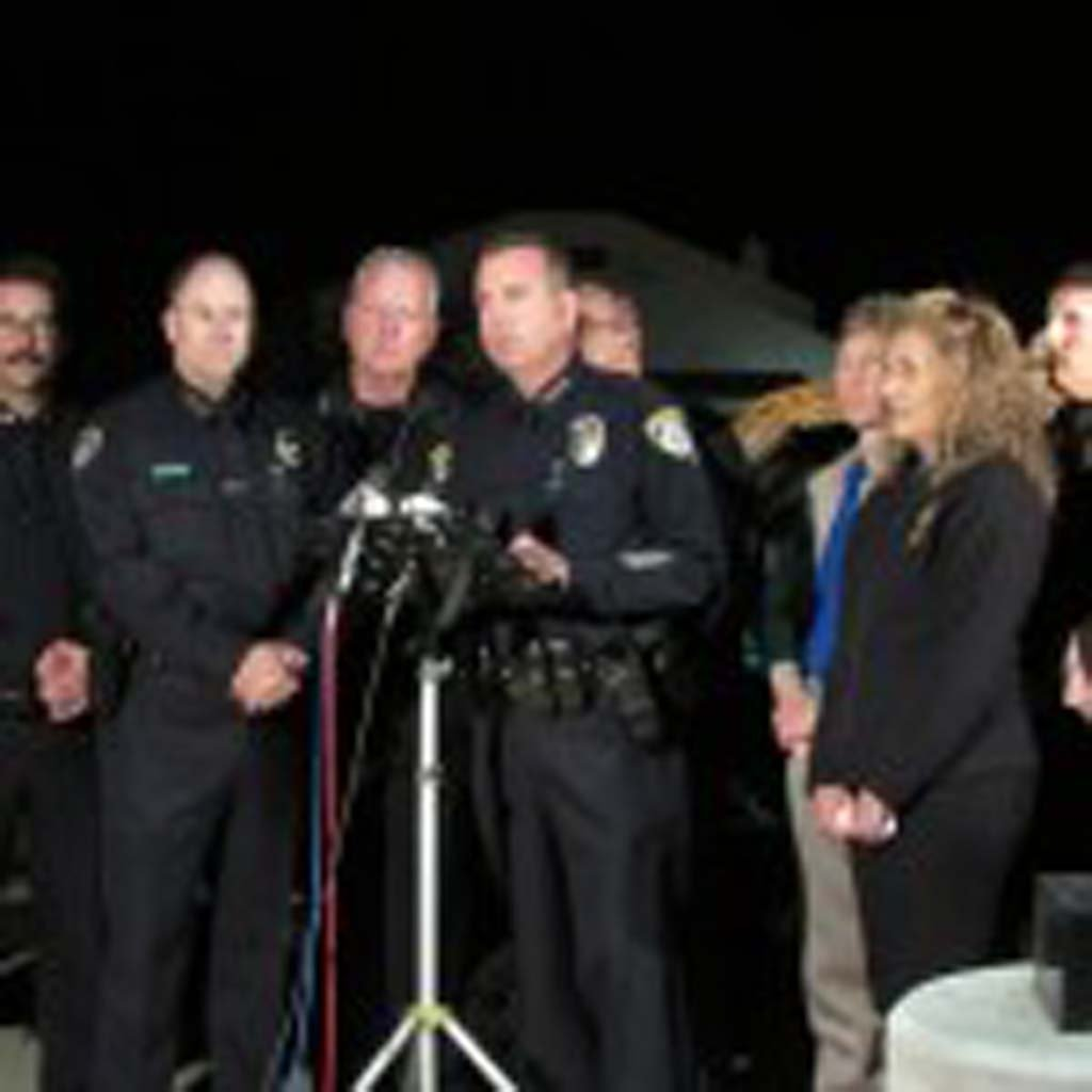 """Escondido Police Chief Craig Carter said that the combined eight law enforcement agencies thought of the idea for the """"Avoid the 8 on 78"""" campaign about five months ago. Photo by Ellen Wright"""