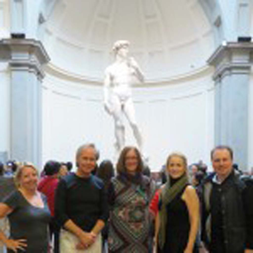 A group from OMA meets with Cinzia Parnigoni, restorer of Michelangelo's David. From left to right: Julia Fister, Daniel Foster, Cinzia Parnigoni, Ann Hoehn, and tour organizer Giuseppe Rossi. Courtesy photo