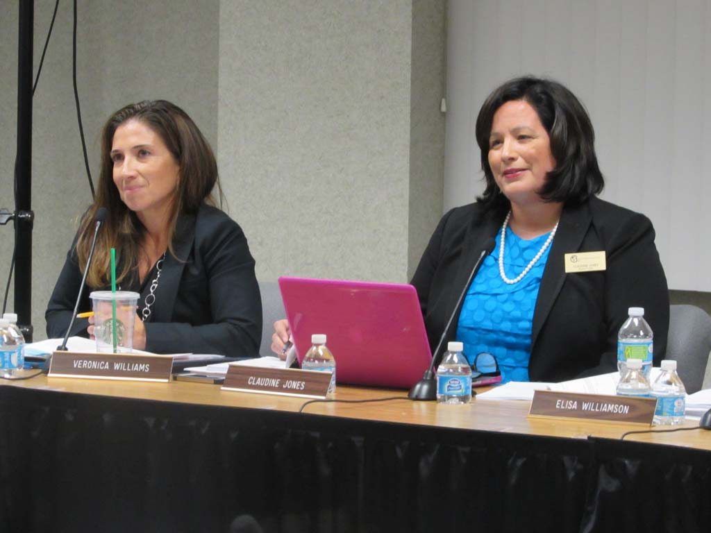 Veronica Williams, left, was unanimously approved by the board to serve as the president of CUSD Board of Trustees. Claudine Jones was re-elected as vice president. Photo by Ellen Wright