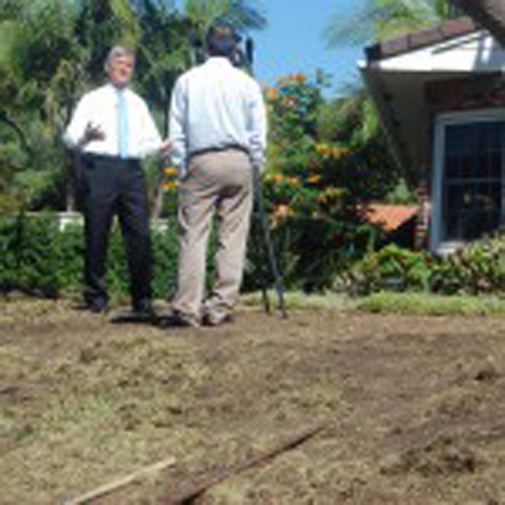 County Supervisor Dave Roberts, left, whose jurisdiction includes Del Mar, used PACE financing to replace the lawn of his Solana Beach home with synthetic turf. Del Mar recently became the last city in the county to authorize such financing, which allows property owners to pay for energy-efficient improvements using special loans that are repaid through their property tax bills. File photo by Bianca Kaplanek