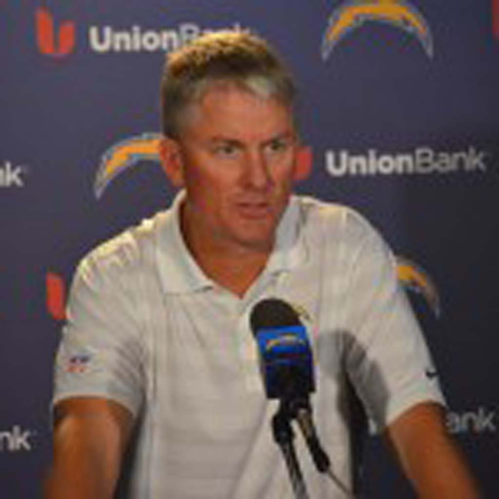 """San Diego Chargers head coach Mike McCoy says Saturday's game against the San Francisco 49ers is the """"biggest game of the year."""" The Chargers will have two win their final two games and receive a lot of help from other teams if they want to make the postseason this year. Photo by Tony Cagala"""