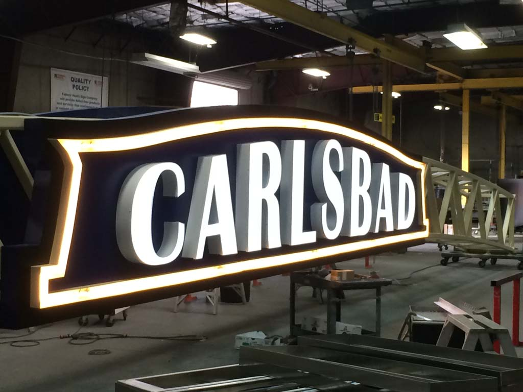 The new Carlsbad sign awaits installation at the intersection of Carlsbad Boulevard and Carlsbad Village Drive, which is slated for Dec. 29. The sign has been a passion project for Carlsbad realtor Carlton Lund. Photo by Carlton Lund