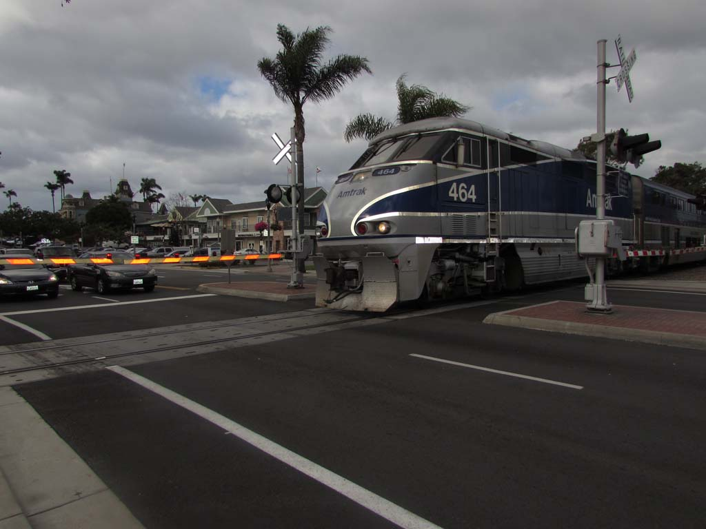 There are three railroad crossings in Carlsbad, one at Tamarack Avenue, Carlsbad Village Drive and Grand Avenue. The city is looking into lowering the tracks to accommodate an increase in train traffic. Photo by Ellen Wright