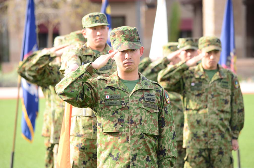 Members of the Japanese Ground Self Defense Force take part in the opening ceremonies of the 10th annual Iron Fist training exercise with Marines from Camp Pendleton. About 250 Japanese troops are working with the 13th Marine Expedition Unit to better increase interoperability between the two militaries. Photo by Tony Cagala