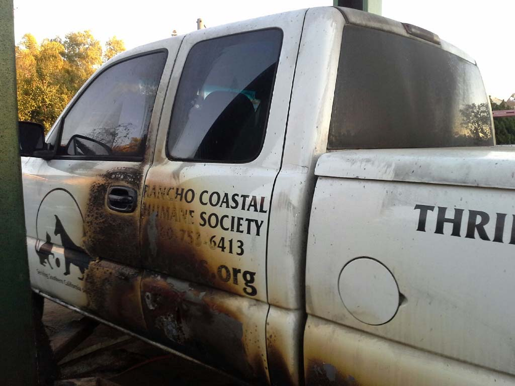 A freak fire destroys a truck used by the Rancho Coastal Humane Society. RCHS is seeking assistance in replacing the vehicle. Courtesy photo