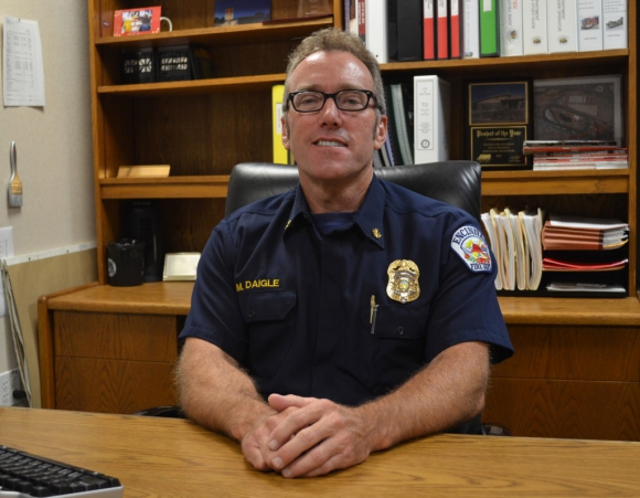 Encinitas Fire Chief Mike Daigle says that a proposed fire services cost-cutting plan would lead to a reduction of service level. File photo