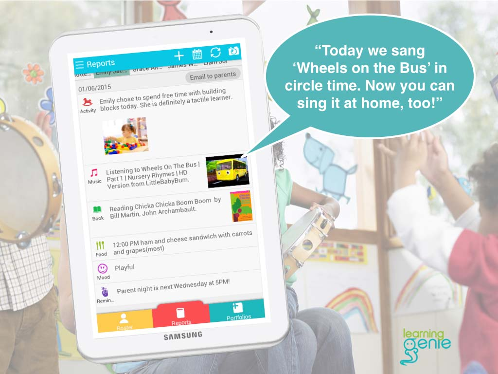 The Learning Genie app allows parents to check-in with their preschoolers in real time thanks to updates provided by their teachers. Courtesy image
