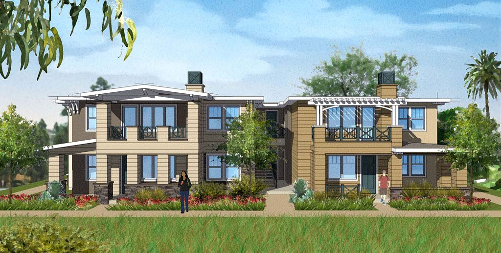 The owner of Solana Highlands is proposing to demolish the 43-year-old apartment complex and rebuild it with updated Craftsman-style exteriors. If installed, about 30 percent of the required story poles would present access problems for emergency vehicles. Residents urged council not to approve a waiver request. Courtesy rendering