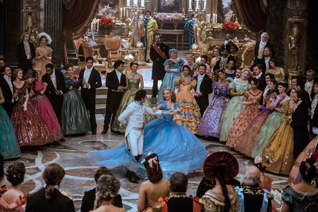 """Lily James is Cinderella and Richard Madden is the Prince in Disney's live-action feature inspired by the classic fairy tale, """"Cinderella."""" Photo by Jonathan Olley"""