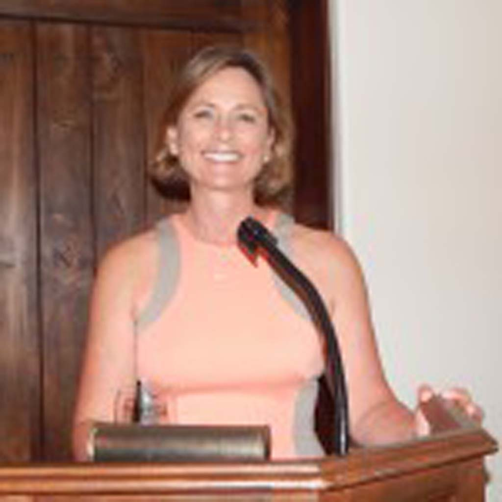 """Kelly Fore Dixon, a Rancho Santa Fe resident and project manager for Nature Designs takes part in the """"Get Smart"""" lecture series. Dixon gave information on how to reduce water bills and landscaping tips. Photo by Christina Macone-Greene"""