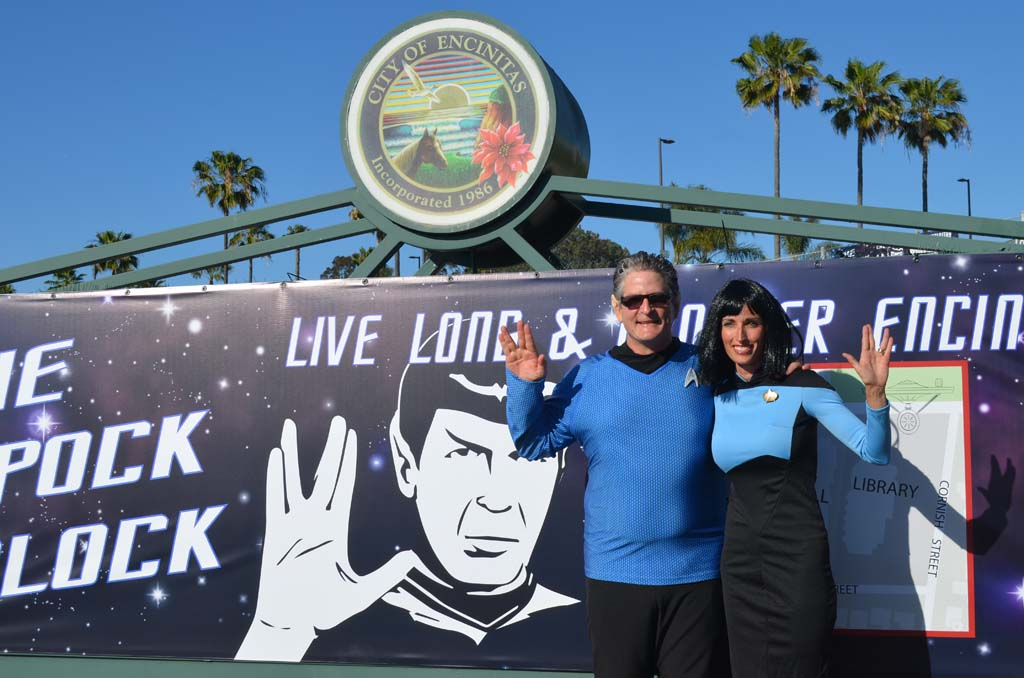 """Encinitas Councilman Tony Kranz and Encinitas Mayor Kristin Gaspar don their best """"Star Trek"""" outfits in front of City Hall on Thursday for the proclamation of Spock Block week. Photo by Tony Cagala"""