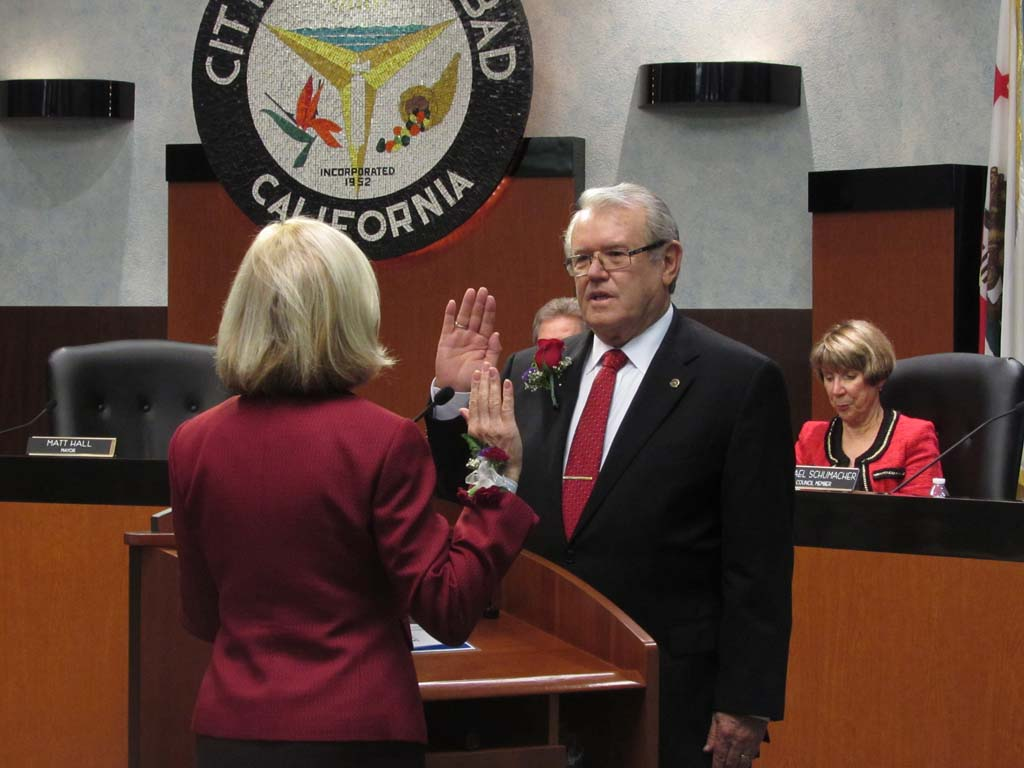 Mayor Matt Hall, at the swearing in ceremony in November, approved a $2,000 pay raise at a meeting Tuesday. Compared to surrounding North County mayors, he is paid the third lowest salary. File photo