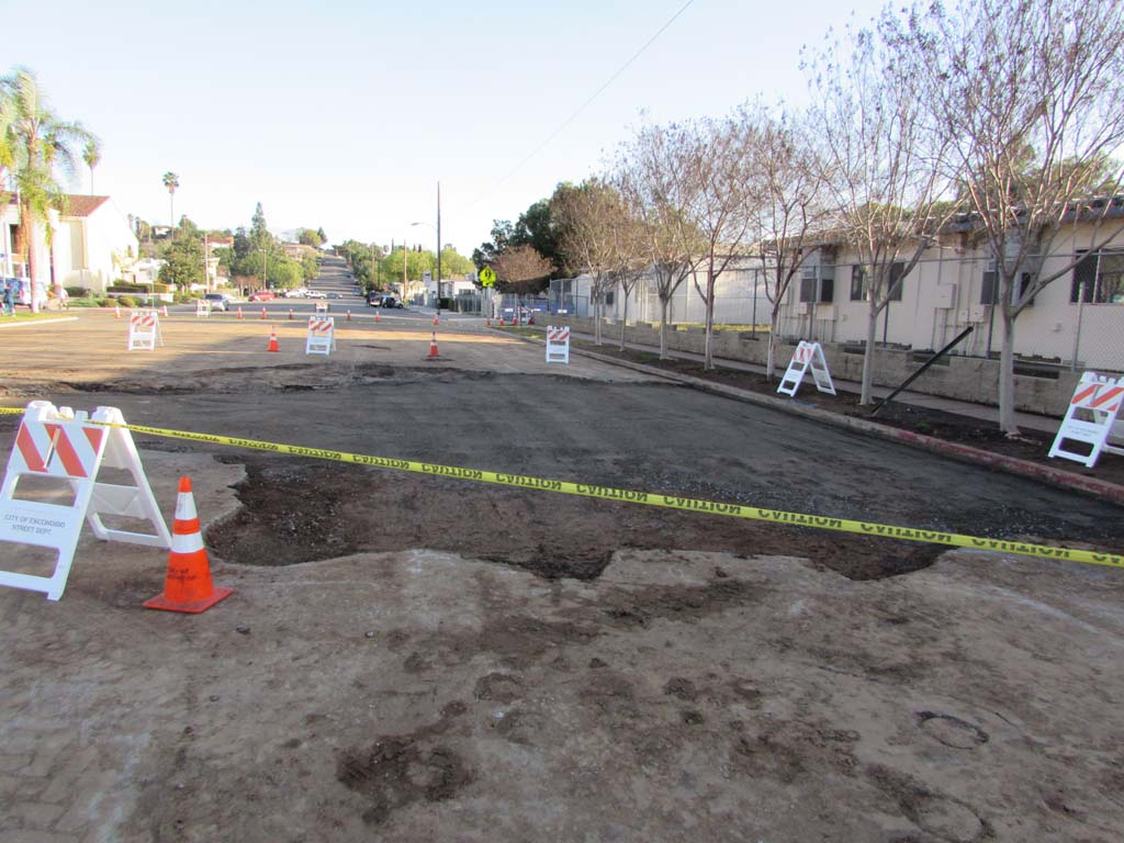 A sinkhole caused the closure of South Broadway for about two days last week. Photo by Ellen Wright