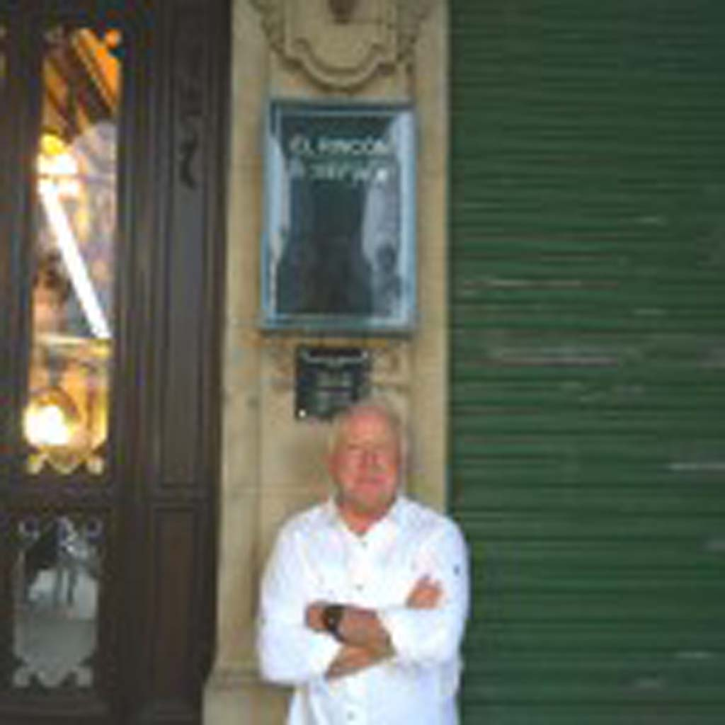 """Tim O'Shea of San Marcos takes a breather in front of Café Iruna in a plaza in Pamplona, Spain, """"a stunning city with great restaurants and food,"""" he says. """"The homes here, as in much of Europe, are small, so people spend a lot of time in the plazas."""""""