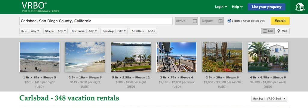 A search on VRBO.com turns up about 350 short-term vacation rentals in Carlsbad. The city is currently receiving transient occupancy tax from 43 rentals. The tax is $1 per room per night. Image from VRBO.com