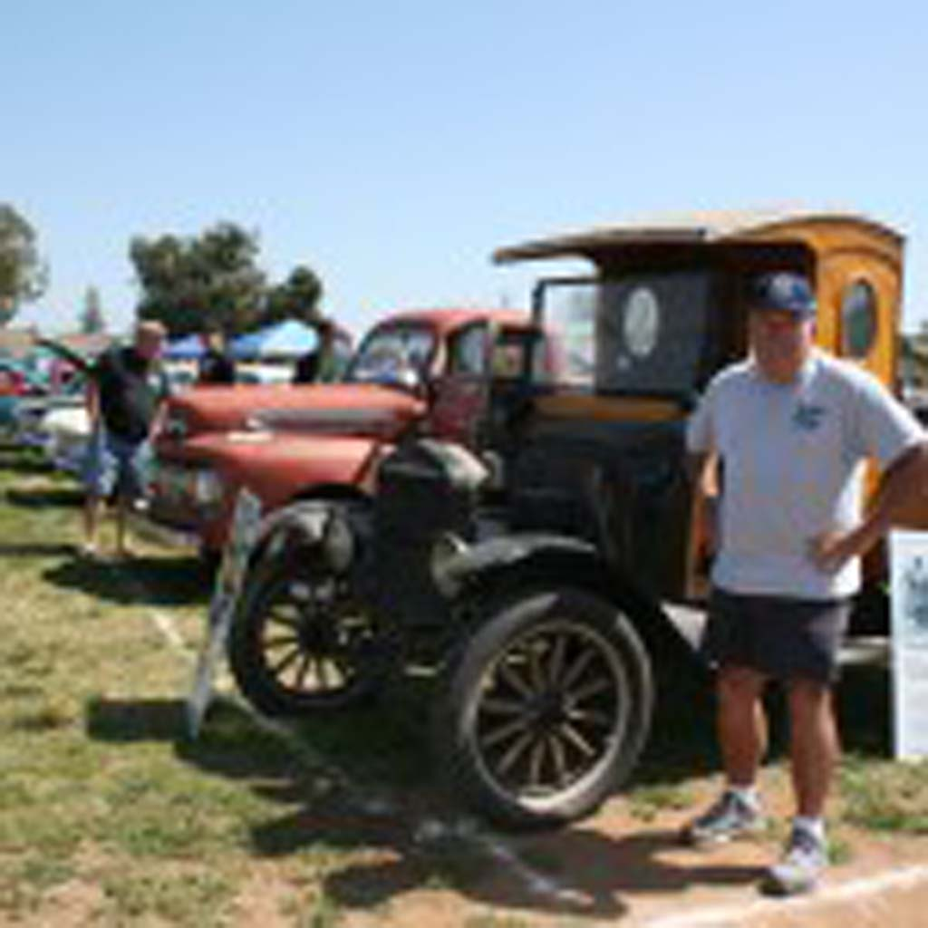 John Daley, of the Oceanside Historical Society, shows off a Model T truck. The Historical Society is looking into the truck's Oceanside connections. Photo by Promise Yee