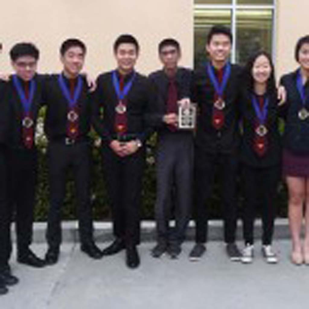 Torrey Pines High School is the North County Academic League's Inland Division and overall champion for the 2015 season at the varsity level. From left, the team includes Michael Lee, Thomas Freedman, Eric Tang, Eric Chen, Alex Jen, Jacqueline Yau, Jessica Choi, Emily Sun, Kevin Jiang, Vasu Vikram, Varun Bhave, and Coach Andrew Kahng. Courtesy photos