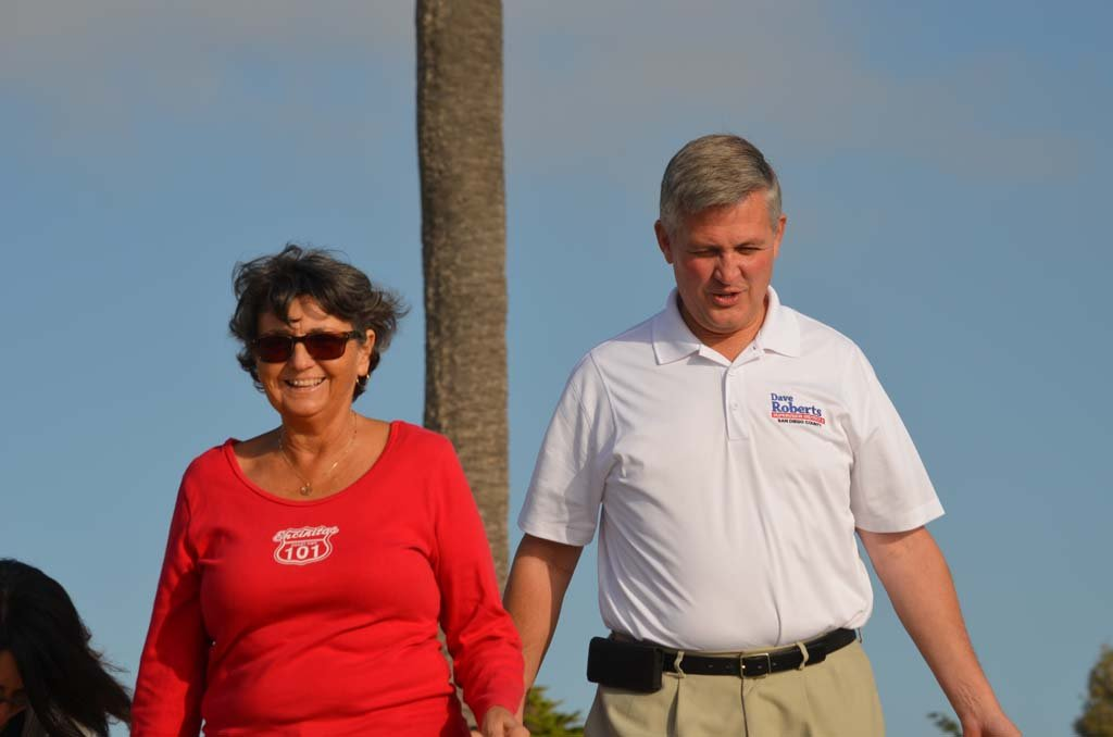 Former Encinitas Mayor Teresa Barth, left, with Supervisor Dave Roberts at a beach cleanup event organized by Engage Encinitas, a nonprofit organization formed by Barth and four other local women.File photo