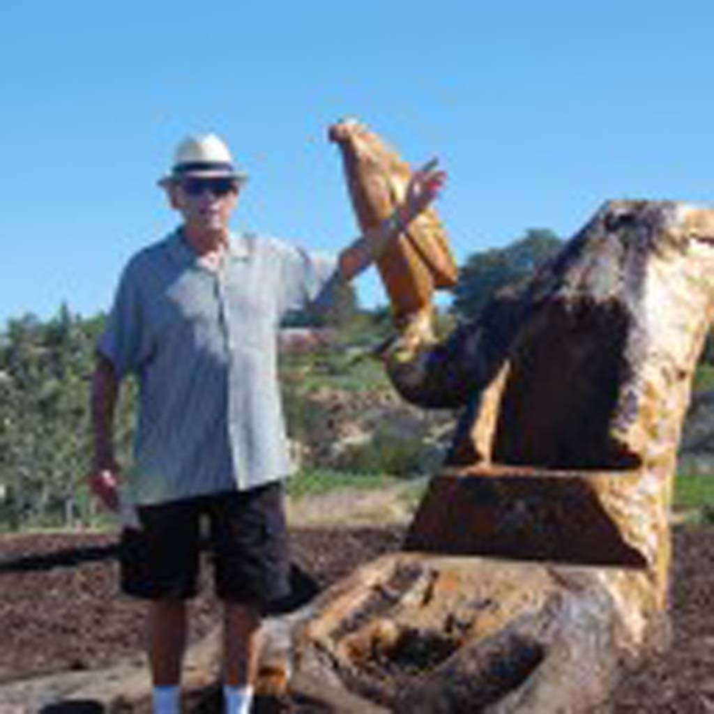Del Mar resident David Arnold explains the process that allowed him to transform a Torrey pine tree stump into public art. Photo by Bianca Kaplanek