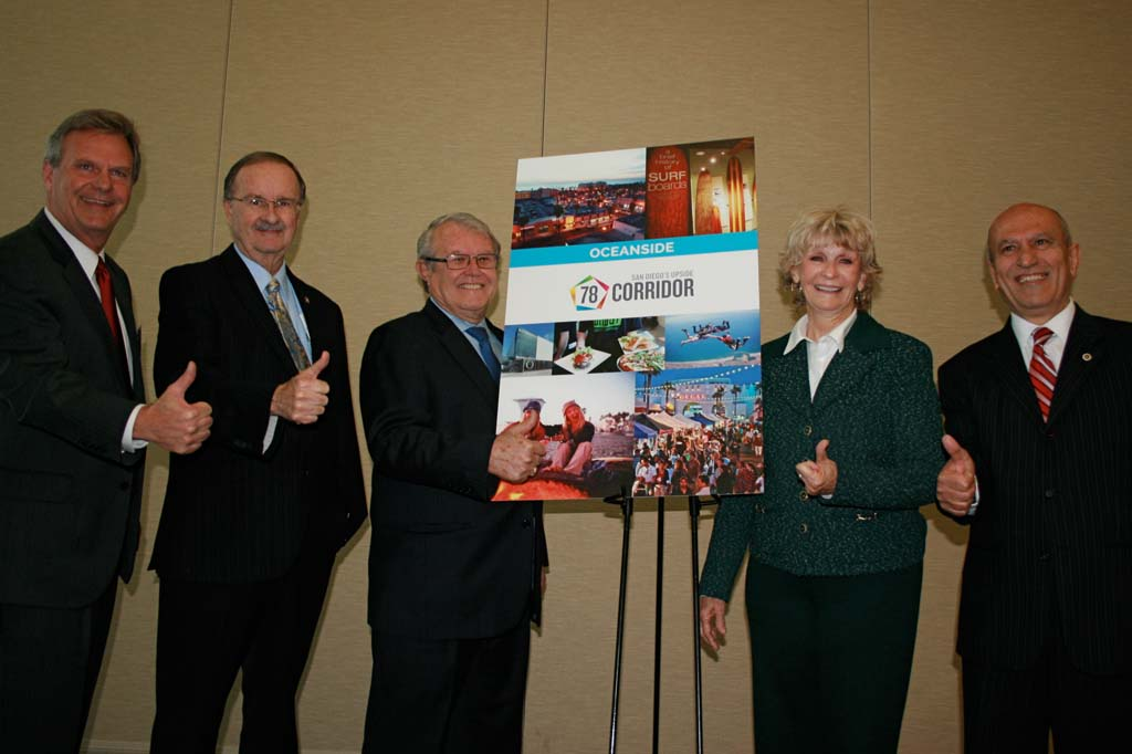 Five mayors from North County give thumbs up to the Innovate78 logo, which was unveiled on April 7. From left: San Marcos Mayor Jim Desmond, Oceanside Mayor Jim Wood, Carlsbad Mayor Matt Hall, Vista Mayor Judy Ritter, and Escondido Mayor Sam Abed. Photo by Promise Yee