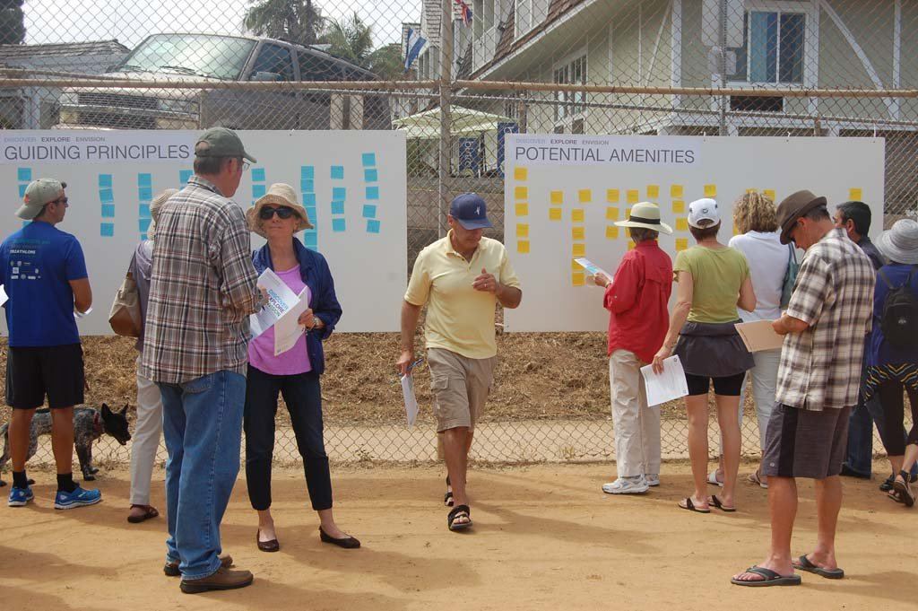 Residents post their ideas for what should be included in the development of the Shores property during an onsite May 2 workshop that concluded with barbecue compliments of the design consultants, Schmidt Design Group. Photo by Bianca Kaplanek