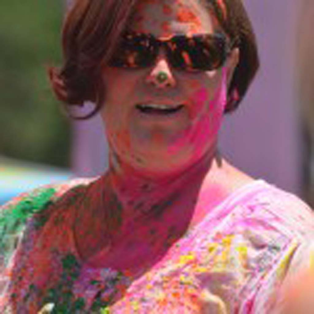 Nancy Barnes gets colorful. Photo by Tony Cagala