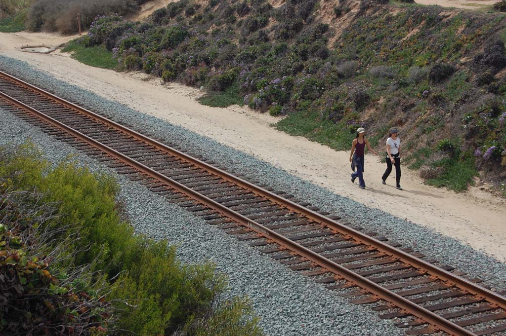 It is illegal to cross railroad tracks or walk between them and posted signs. North County Transit District in January instructed law enforcement officers to enforce trespassing on the tracks or it the right of way up and down the coast. Violators will be ticketed. File photo by Bianca Kaplanek