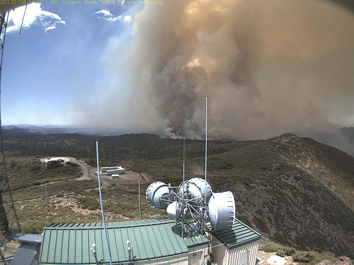 Smoke from the Chariot fire rises over the eastern portion of the Laguna Mountains in San Diego County. Federal government departments are bracing for a costly wildfire season this year. Photo courtesy U.S. Forest Service