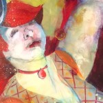 """Roberta Dyer's """"Jongleur,"""" 30x22, mixed media on paper, reflects the festive spirit of the San Diego County Fair. Courtesy image"""