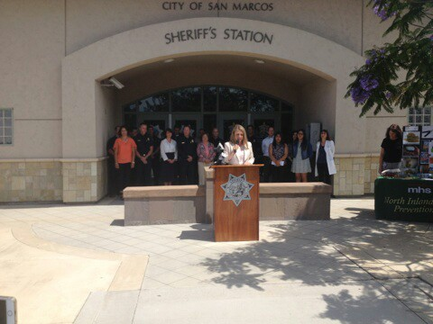 San Marcos Vice Mayor Rebecca Jones speaks during a press conference on the dangers of drugged driving. Photo by Aaron Burgin