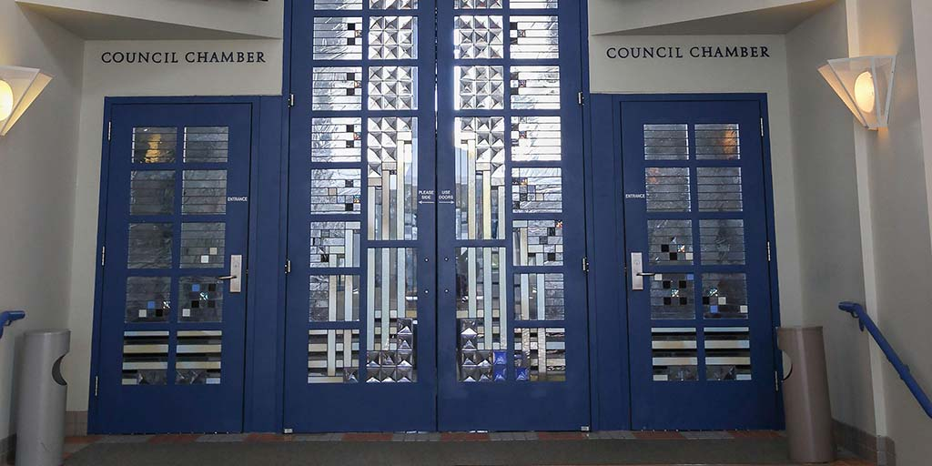Doors outside the city council chamber at the Civic Center in Oceanside, California. Photo by Visitor7 courtesy of Wikimedia